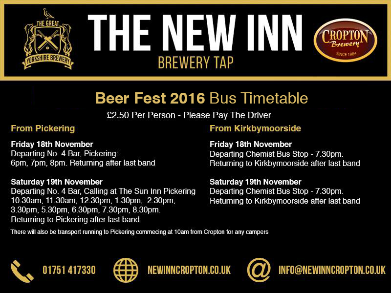Beer Fest 2016 Timetable