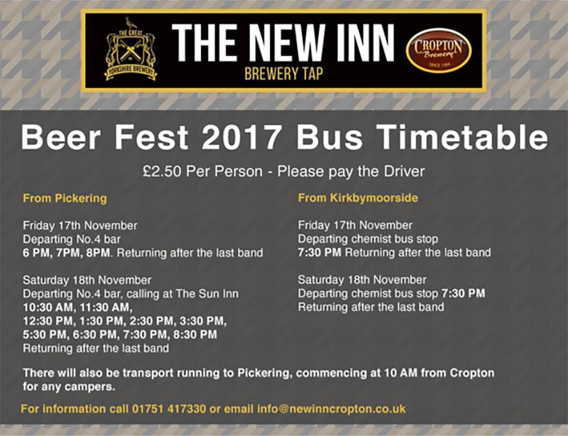 Beer Fest 2017 Bus Timetable